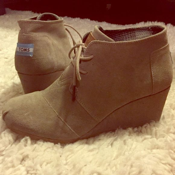 Toms wedged booties Super cute and comfy wedges booties by Toms! TOMS Shoes Ankle Boots & Booties