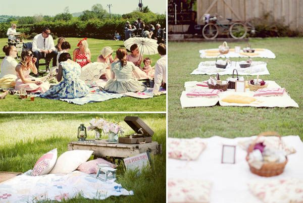 vintage picnic wedding.  love this for a morning of afternoon wedding.  Propcellar has the quilts for your picnic!