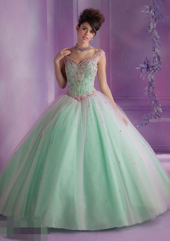 Vestidos para xv color verde jade