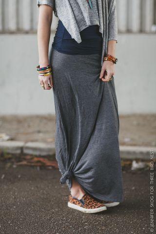 solid jersey maxi skirt - charcoal long skirts by Three Bird Nest | Women's Boho Clothing