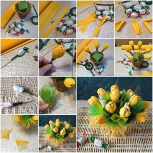 How to make Yellow Flower Candy Bouquet step by step DIY tutorial picture instructions thumb , How to, how to make, step by step, picture tu by Mary Smith fSesz