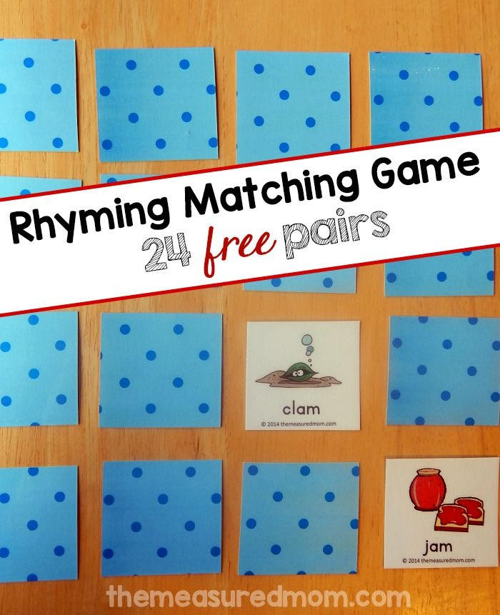 Looking for a free rhyming game? Print these 48 picture cards which include 24 rhyming pairs. Try this fun matching game with your preschooler or kindergartner!