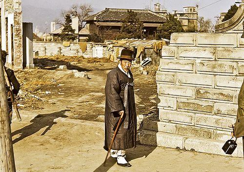 Elegant Korean Gentleman, wartime Seoul. Photo by Dewey McLean, 1952-1953.