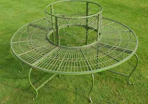 Vintage style antique green country garden iron circular tree seat bench ebay edwardian Circular tree bench