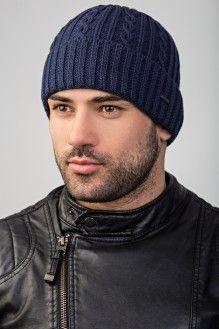 стильная вязаная шапка для мужчин классического дизайна отворот