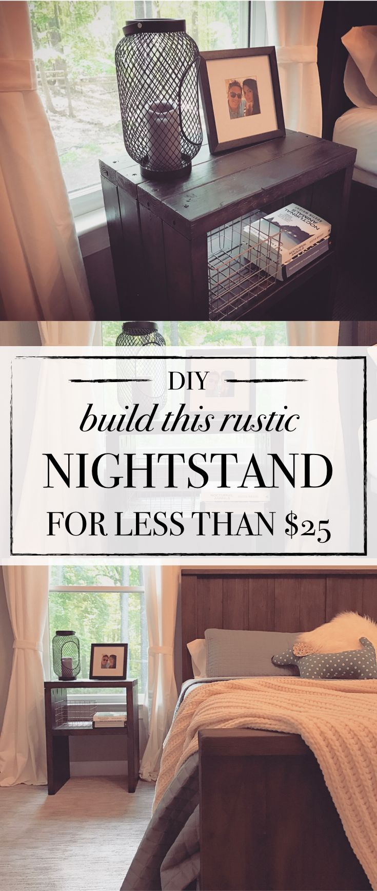 DIY nightstand! how to build a rustic farmhouse style nightstand using 2x4s for less than $25! cheap and easy!
