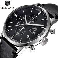Reloj Hombre BENYAR Mens Waterproof Business Quartz Wristwatch Genuine Leather Full Steel Fashion Casual Sport Watches Men Clock