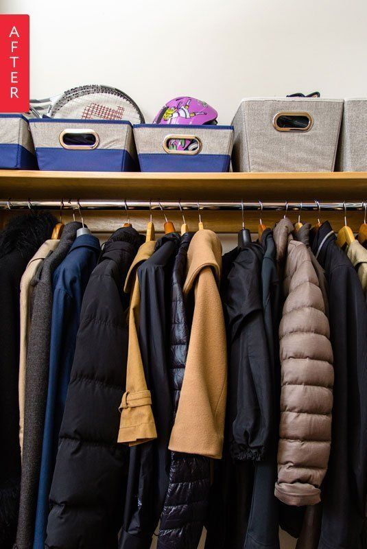 STAPLES STORAGE TIP: Take back the closet shelf. Reassemble the contents of your closet shelf with large decorative bins and boxes categorized by content.
