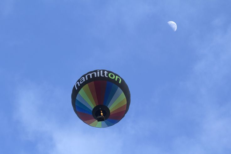 Hamilton hot air balloon with the morning moon