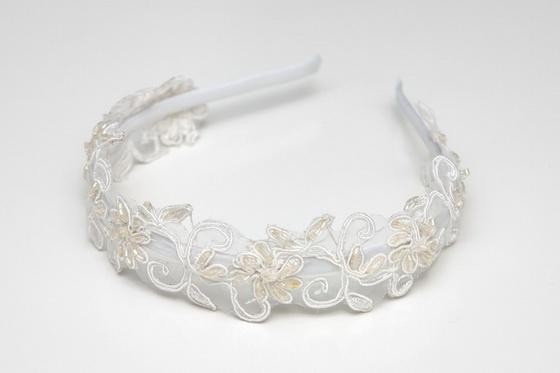 Diadema hecha a mano con flores bordadas - Fabric headband: Con Flora