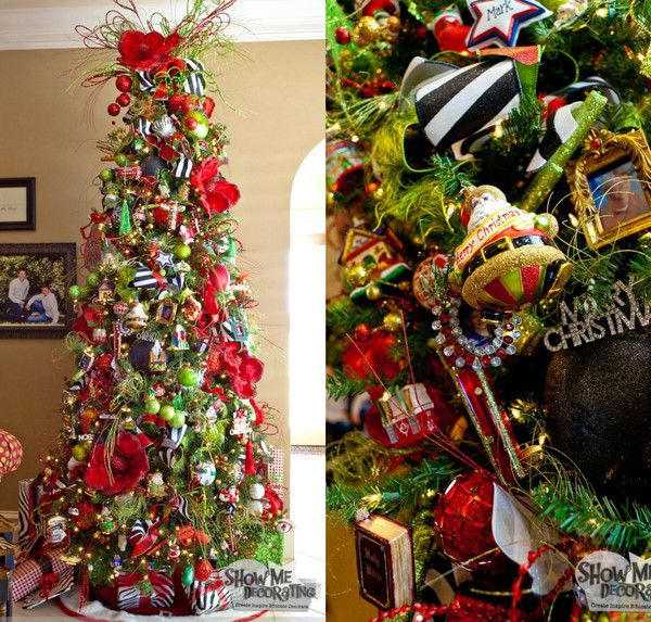 Christmas tree inspiration for family room- Traditional christmas decorations but with a whimsical look! http://www.showmedecorating.com/blogs/news/15116005-show-me-a-christmas-tree-home-tour #christmasdecorations #christmastree