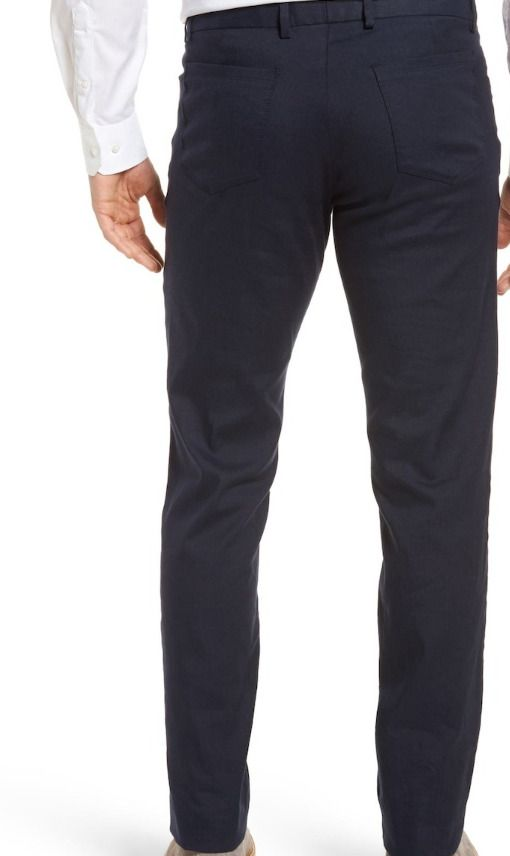 732f01a4466 Details about Monte Rosso Flat Front Stretch Linen   Cotton Trousers Navy  Size 36
