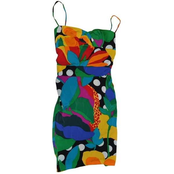 Pre-owned Diane Von Furstenberg Silk Mini Dress (180 BAM) ❤ liked on Polyvore featuring dresses, multicolour, multi colored dress, silk dress, multi color dress, blue cocktail dresses and short blue dress