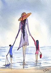 Art: Paddiling With Mum by Artist KJ Carr