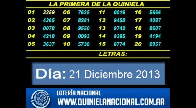 Loteria Nacional - La Quiniela Nacional Primera Sabado 21 de Diciembre 2013. Fuente: www.quinielanacional.com.ar