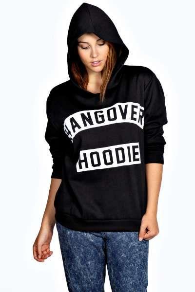 Rochelle Hangover Slogan Oversized Hoodie