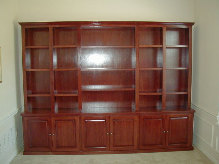 Custom Bookcases | Custom-made solid cherry bookcase with bottom cabinets