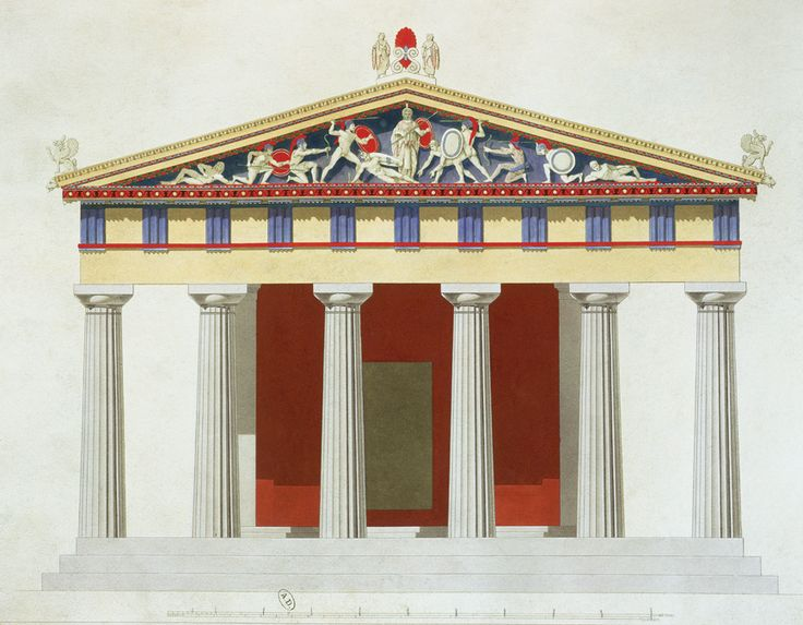 Ricostruzione Tempio di Atena Afaia, isola di Egina. Esempio di tempio dorico, periptero, esastilo