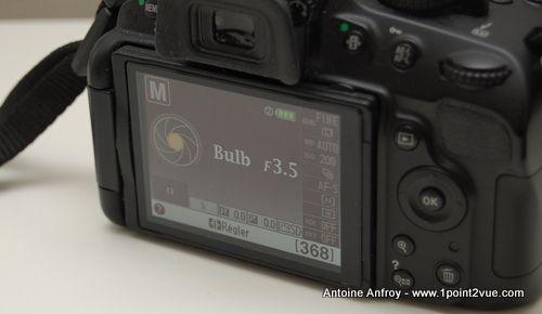 L'appareil photo en mode bulb