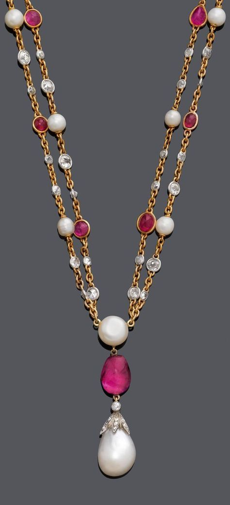 """AN ANTIQUE GOLD, PLATINUM, NATURAL PEARL, RUBY AND DIAMOND NECKLACE, CIRCA 1900. The double row """"Y"""" necklace, set with 12 ruby cabochons, 11 natural pearls and circular-cut diamonds, suspending a drop-shaped natural pearl pendant from 1 baroque ruby and 1 bouton-shaped pearl, integrated pearl clasp."""