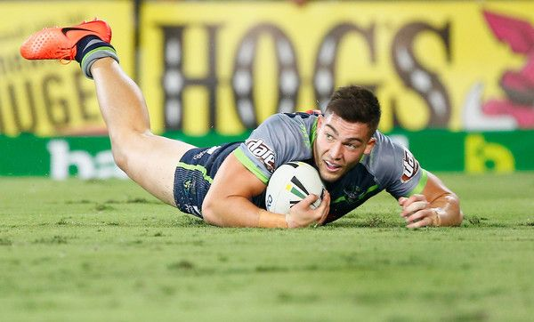 Nick Cotric of the Raiders scores a try during the round six NRL match between the Gold Coast Titans and the Canberra Raiders at Cbus Super Stadium on April 8, 2017 in Gold Coast, Australia.