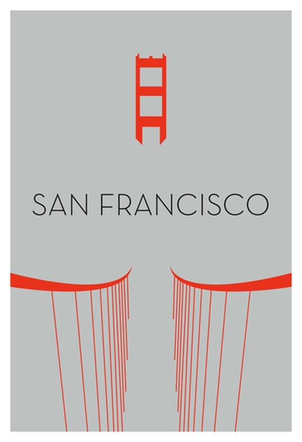 Minimalist California Love Golden Gate Bridge By Ryan M