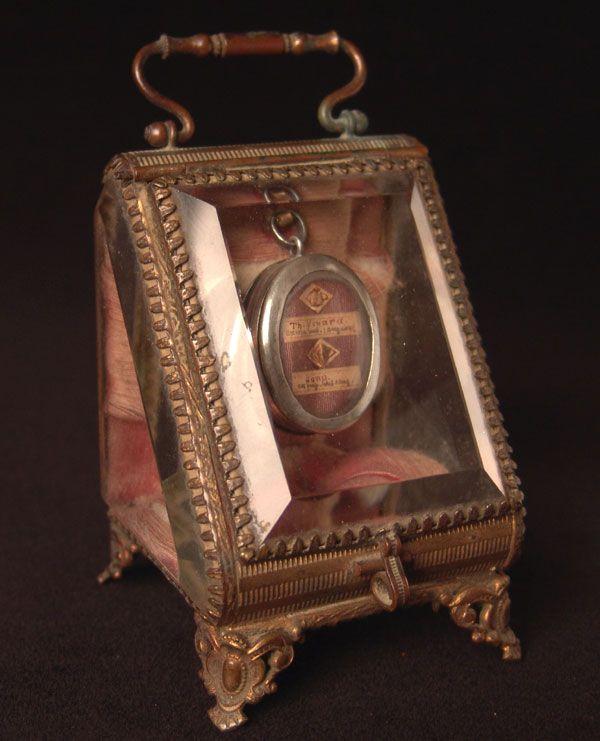 Sacred relic inside glass case
