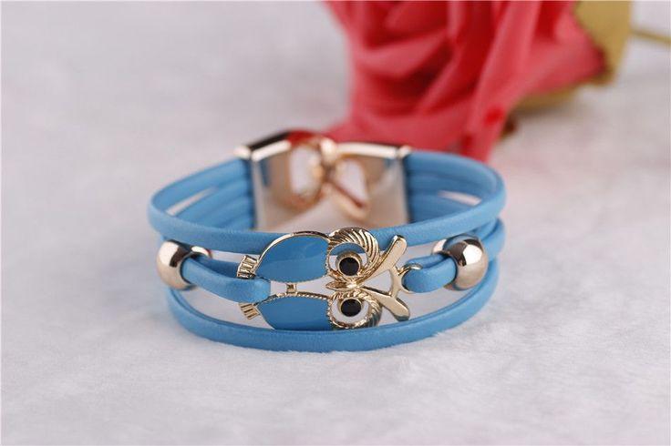 European and American Fashion Owl Beaded Leather Bracelet