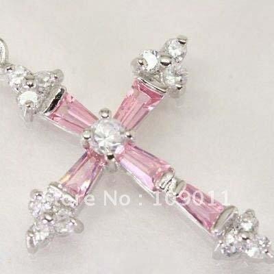 Pink cross pendant