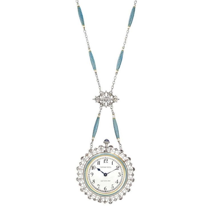 Tiffany & Co. Yellow Gold, Platinum, Enamel and Diamond Pendant Watch on Chain | From a unique collection of vintage pocket watches at http://www.1stdibs.com/jewelry/watches/pocket-watches/