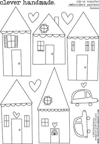 Embroidery Patterns - Rub Ons - Houses by Clever Handmade - click to enlarge