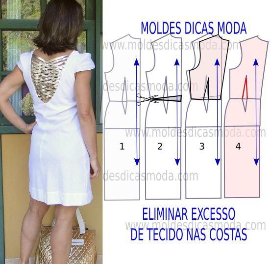 Como eliminar excesso de tecido nas costas. Para executar este exercício, deve imprimir o molde base e ajusta-lo ao seu tamanho testando-o em tecido.