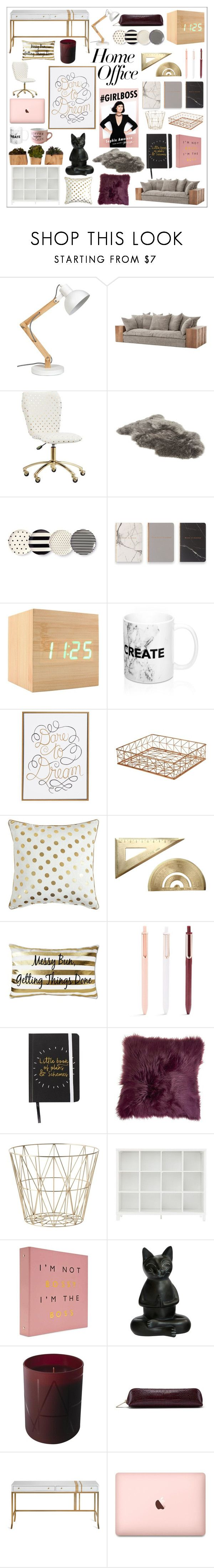 """""""Home Office"""" by alexandrammarekbeauty ❤ liked on Polyvore featuring interior, interiors, interior design, home, home decor, interior decorating, PBteen, UGG, Kate Spade and Eccolo"""
