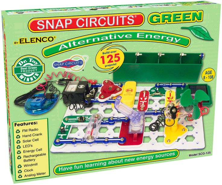 Learn about energy sources and how to think green . Build over 125 projects; using the flexibility of our award-winning Snap Circuits®; to have loads of fun learning about environmentally friendly ene