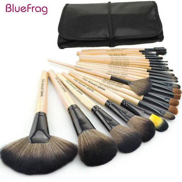 Professional 24 Pcs Makeup Brush Set Tools Make-up Toiletry Kit Wool Brand Make Up Brush Set Case Cosmetic Brush Top Quality!