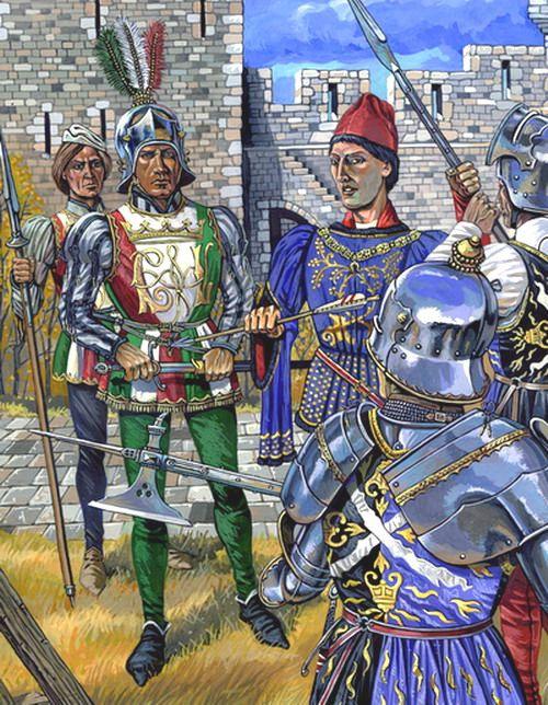 Шотландские гвардейцы Людовика XI. Рис. из книги  А. В. Куркина «Рыцари. Последние битвы» (СПб., 2005).
