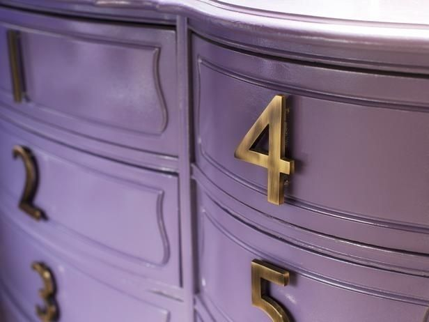 Use house numbers for pulls | 99 Clever Ways To Transform A Boring Dresser