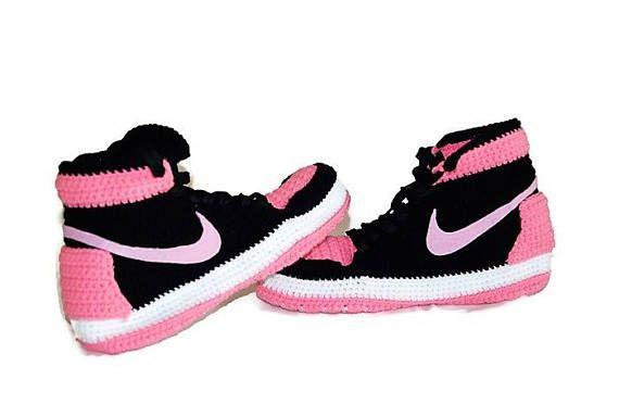 Crochet Womens Air Jordan 1 Retro High White Pink Slippers