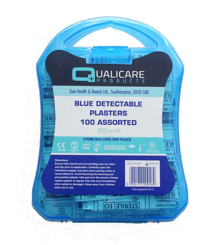 Blue Detectable Plasters Supplied in handy plastic storage case 100 assorted sizes Metal detectable Latex free Sterile Plastic case ideal for catering environments Click to view