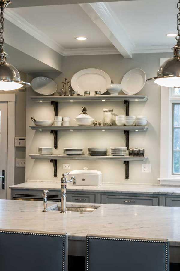 Open shelving - Kitchen design by Past Basket Design Geneva, Illinois  I like the colors