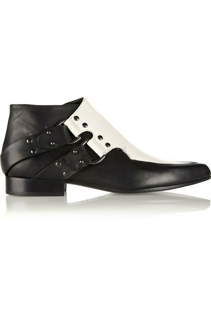 McQ Alexander McQueen|Two-tone leather ankle boots|NET-A-PORTER.COM