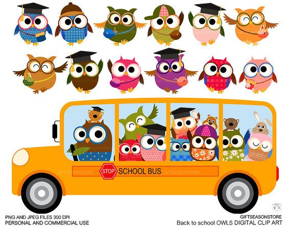 Back to school owl clip art for Personal and by Giftseasonstore, $2.00