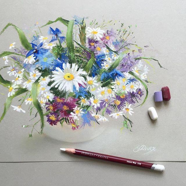Полевые цветы Бумага Derwent #пастель #цветы #softpastel #softpastels