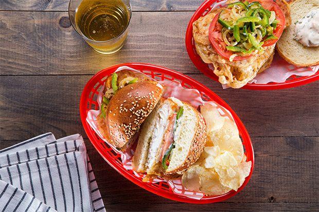 Fried Fish Sandwich with Pepper Slaw
