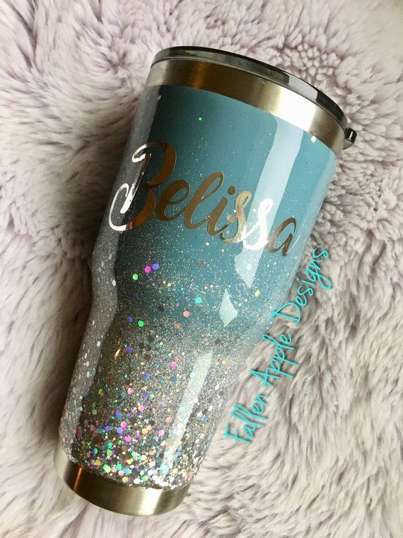 Teal To Silver Glitter Ombr 233 Personalized Tumbler Or