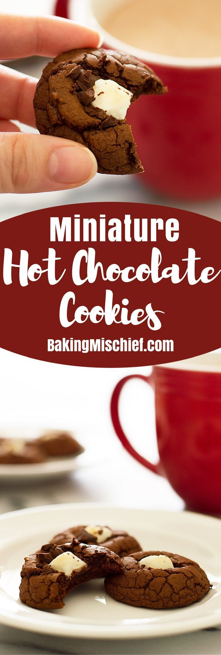 These Miniature Hot Chocolate cookies are rich, chocolatey, and adorable! Recipe includes nutritional information. From http://BakingMischief.com