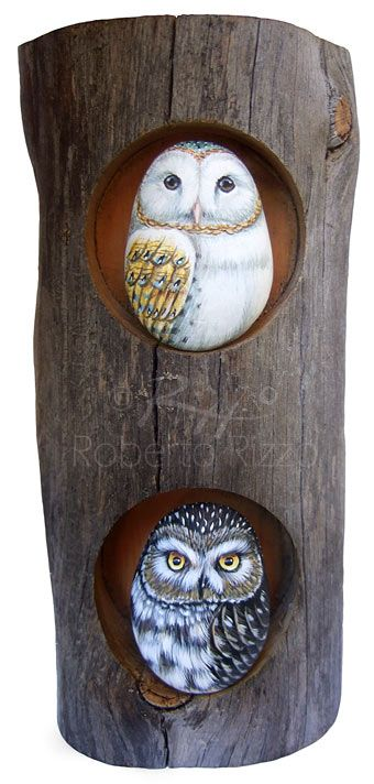 The Owl's Den - painted rocks and wood - cm. 8 x 18 (for sale) A very strange cup holder transformed in a unique piece of art! | www.robertorizzo.com