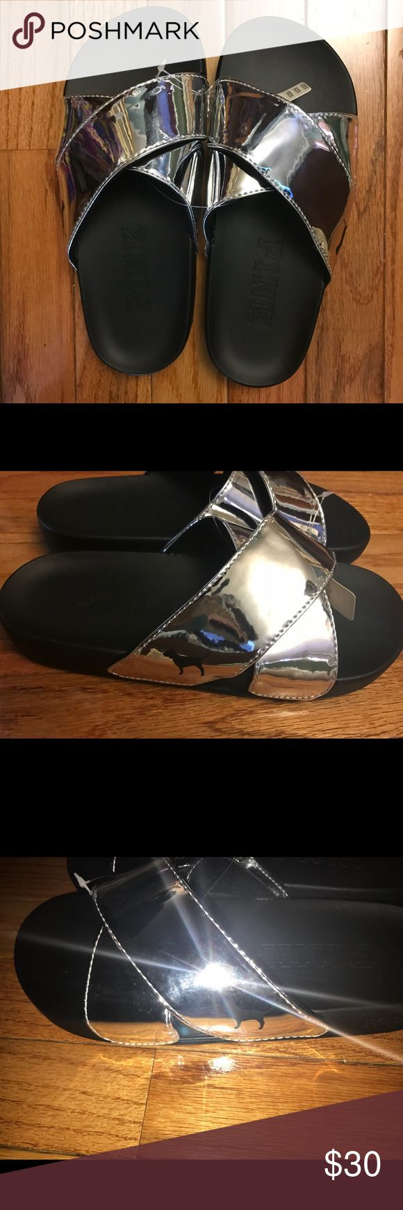 Victor Secret silver slide Brand new Criss Cross Slides from Victoria's Secret PINK. Silver, size Small 5/6  The bottom is a bendable thick rubber, while the straps have some cushioning. The sole has the PINK logo embedded. PINK Victoria's Secret Shoes Slippers