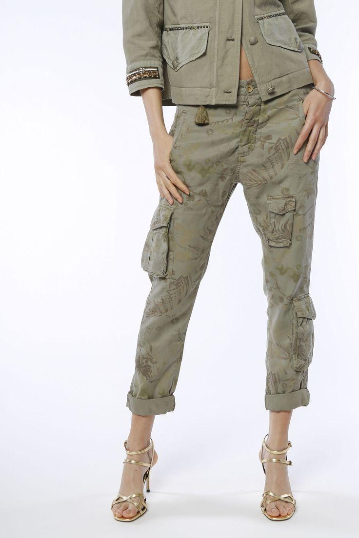 Pantalone Cargo Mason's donna modello Asia Snake in Tencel stampa fiori - Masons
