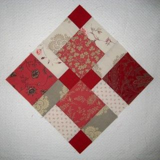 Disappearing 9-Patch Lisa: Love this block in French General fabric.